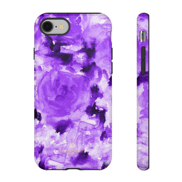 Purple Floral Rose Phone Case, Roses Floral Print Tough Designer Phone Case -Made in USA-Phone Case-Printify-iPhone 8-Glossy-Heidi Kimura Art LLC