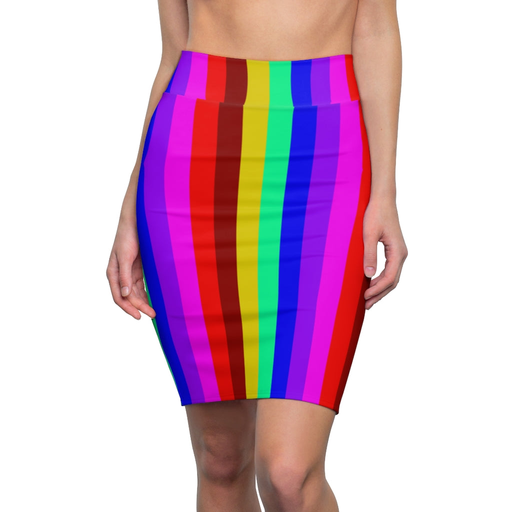 Colorful Rainbow Women's Pencil Skirt, Bright Cute Gay Pride Skirt Designer Women's Office Pencil Skirt, Best Gay Pride Skirt For Gay Pride Parades and Festivals - Made in USA (US Size: XS-2XL)