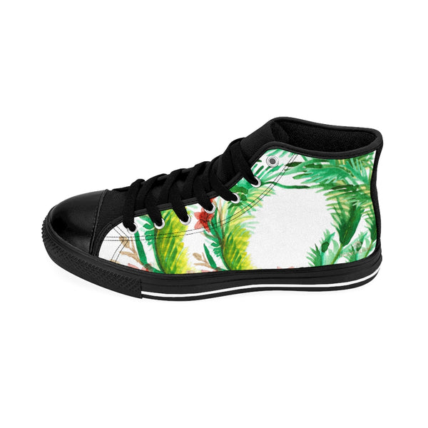 Red Floral Print Designer Men's High-top Sneakers Running Tennis Fashion Running Shoes-Men's High Top Sneakers-Heidi Kimura Art LLC