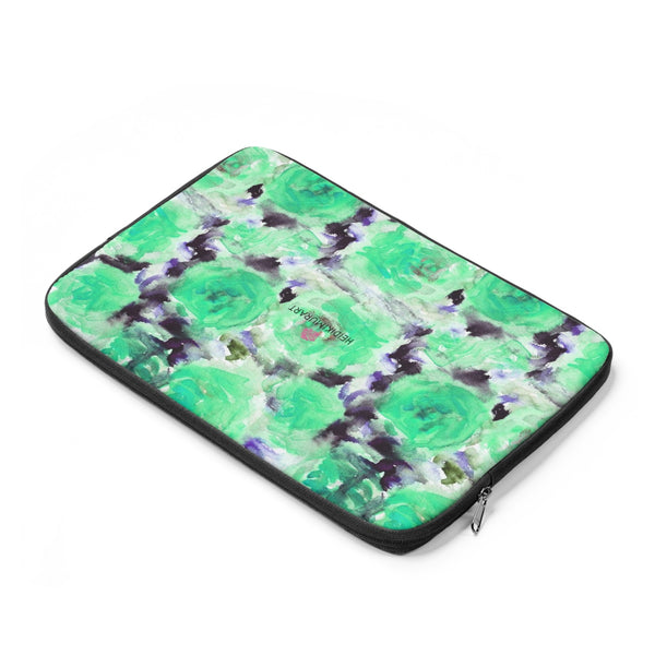 "Turquoise Blue Floral Laptop Sleeve Print 12', 13"", 14"" Laptop Sleeve - Made in the USA-Laptop Sleeve-Heidi Kimura Art LLC"