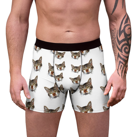 White Cat Print Men's Underwear, Cute Cat Boxer Briefs For Men, Sexy Hot Men's Boxer Briefs Hipster Lightweight 2-sided Soft Fleece Lined Fit Underwear - (US Size: XS-3XL) Cat Boxers For Men/ Guys, Men's Boxer Briefs Cute Cat Print Underwear