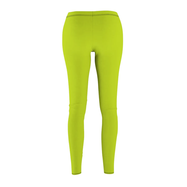 Lime Green Solid Color Women's Casual Leggings Fashion Tights- Made in USA-Casual Leggings-Heidi Kimura Art LLC