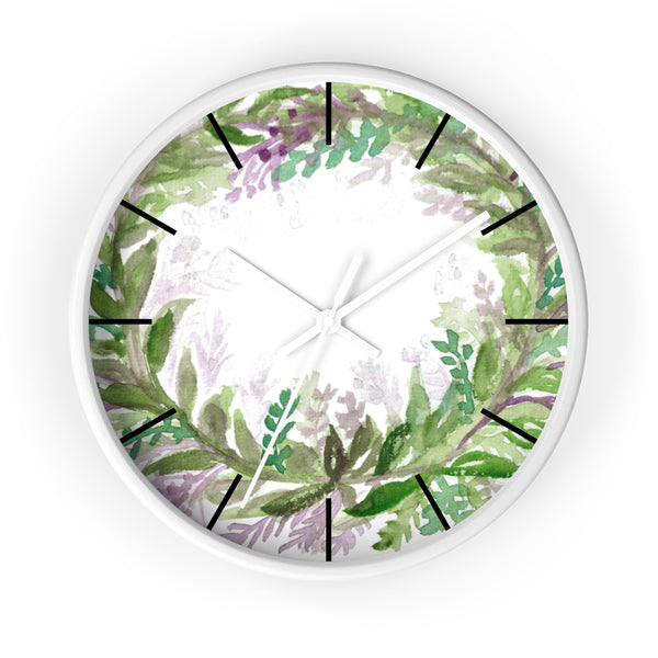 French Lavender Purple Floral Rose Print 10 inch Diameter Wall Clock - Made in USA-Wall Clock-White-White-Heidi Kimura Art LLC
