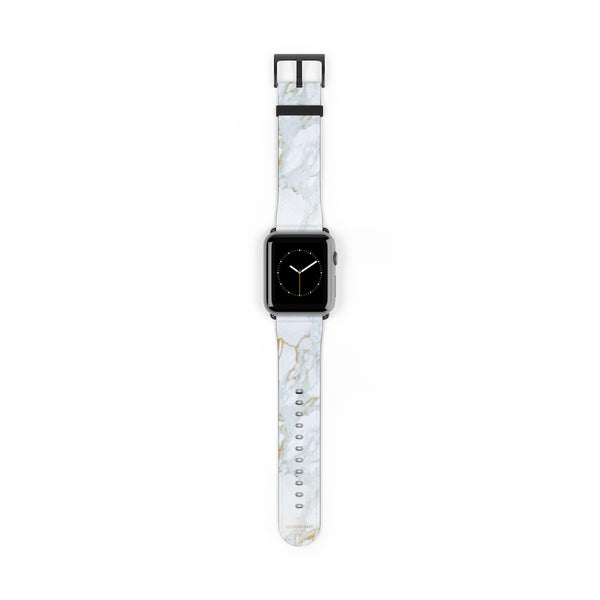 White Marble Print 38mm/42mm Premium Watch Band For Apple Watch- Made in USA-Watch Band-42 mm-Black Matte-Heidi Kimura Art LLC