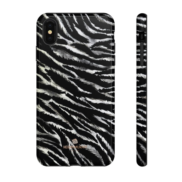White Tiger Stripe Phone Case, Animal Print Tough Designer Phone Case -Made in USA-Phone Case-Printify-iPhone XS MAX-Glossy-Heidi Kimura Art LLC