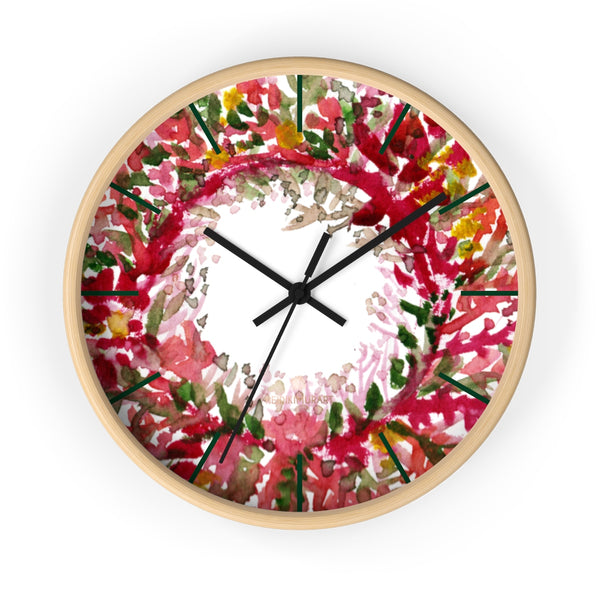 Fall Orange Red Floral Print Designer 10 in. Dia. Indoor Wall Clock- Made in USA-Wall Clock-10 in-Wooden-Black-Heidi Kimura Art LLC
