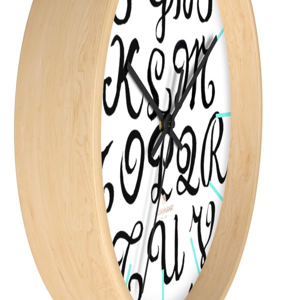 "Alphabet Print 10"" dia. Wall Clock, Large Calligraphy Wall Clock For Library -Made in USA-Wall Clock-Heidi Kimura Art LLC"