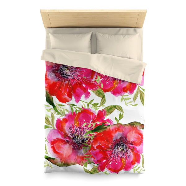 Hot Red Hibiscus Flower Floral Print Soft Polyester Microfiber Duvet Cover - Made in USA-Duvet Cover-Twin-Cream-Heidi Kimura Art LLC