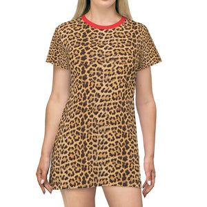 Brown Leopard Print T-Shirt Dress, Cute Modern Leopard Animal Printed Women's Dress-Made in USA-All Over Prints-Printify-2XL-Heidi Kimura Art LLC