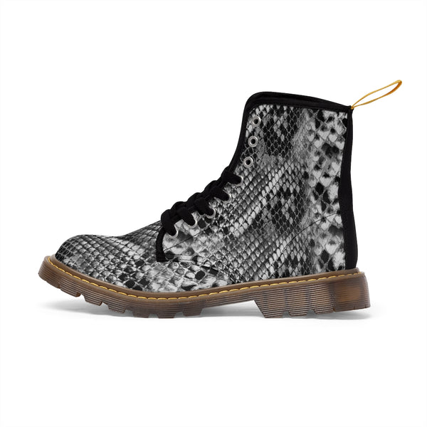 Grey Snake Men's Canvas Boots, Snake Animal Print Designer Winter Laced-up Boots For Men-Shoes-Printify-Heidi Kimura Art LLC