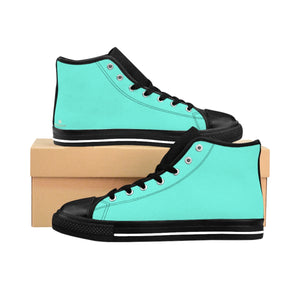 Turquoise Blue Solid Color Women's High Top Sneakers Running Shoes (US Size: 6-12)-Women's High Top Sneakers-US 9-Heidi Kimura Art LLC Turquoise Blue Women's Sneakers, Turquoise Blue Solid Color Women's High Top Sneakers Running Shoes (US Size: 6-12)