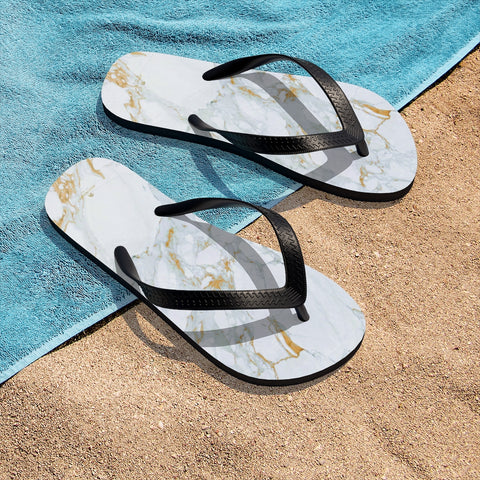 White Marble Print Unisex For Men or Women Designer Flip-Flops Sandals- Made in USA-Flip-Flops-Small-Heidi Kimura Art LLC