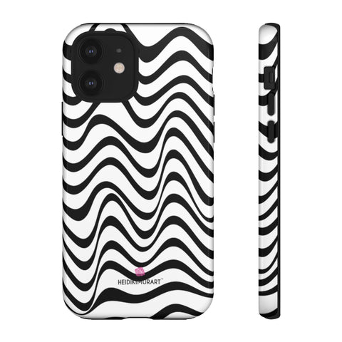 Black Wavy Designer Tough Cases, Modern Minimalist Designer Case Mate Best Tough Phone Case For iPhones and Samsung Galaxy Devices-Made in USA