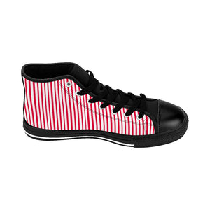 Red Striped High-top Sneakers, Vertically Red Stripes Men's Designer Tennis Running Shoes-Shoes-Printify-Black-US 9-Heidi Kimura Art LLC Red Striped Men's High-top Sneakers, Red White Modern Stripes Men's High Tops, High Top Striped Sneakers, Striped Casual Men's High Top For Sale, Fashionable Designer Men's Fashion High Top Sneakers, Tennis Running Shoes (US Size: 6-14)