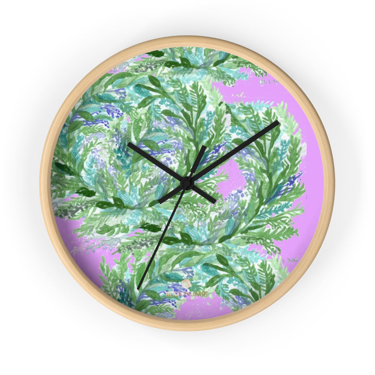 Girlie Soft Purple Pink French Lavender Indoor 10 in. Dia. Wall Clock - Made in USA-Wall Clock-10 in-Wooden-Black-Heidi Kimura Art LLC