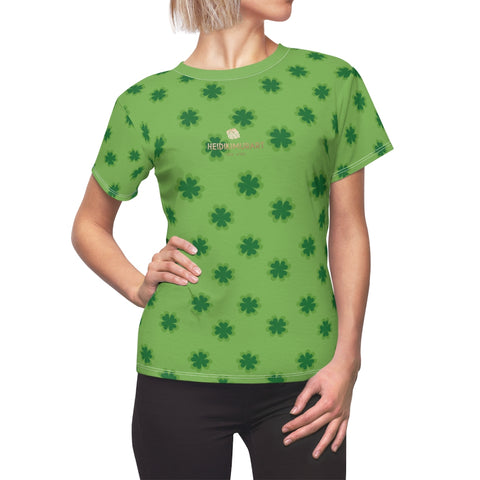 Light Green Clover Print St. Patrick's Day Premium Women's Crewneck Tee- Made in USA-Women's T-Shirt-L-White Seams-4 oz.-Heidi Kimura Art LLC