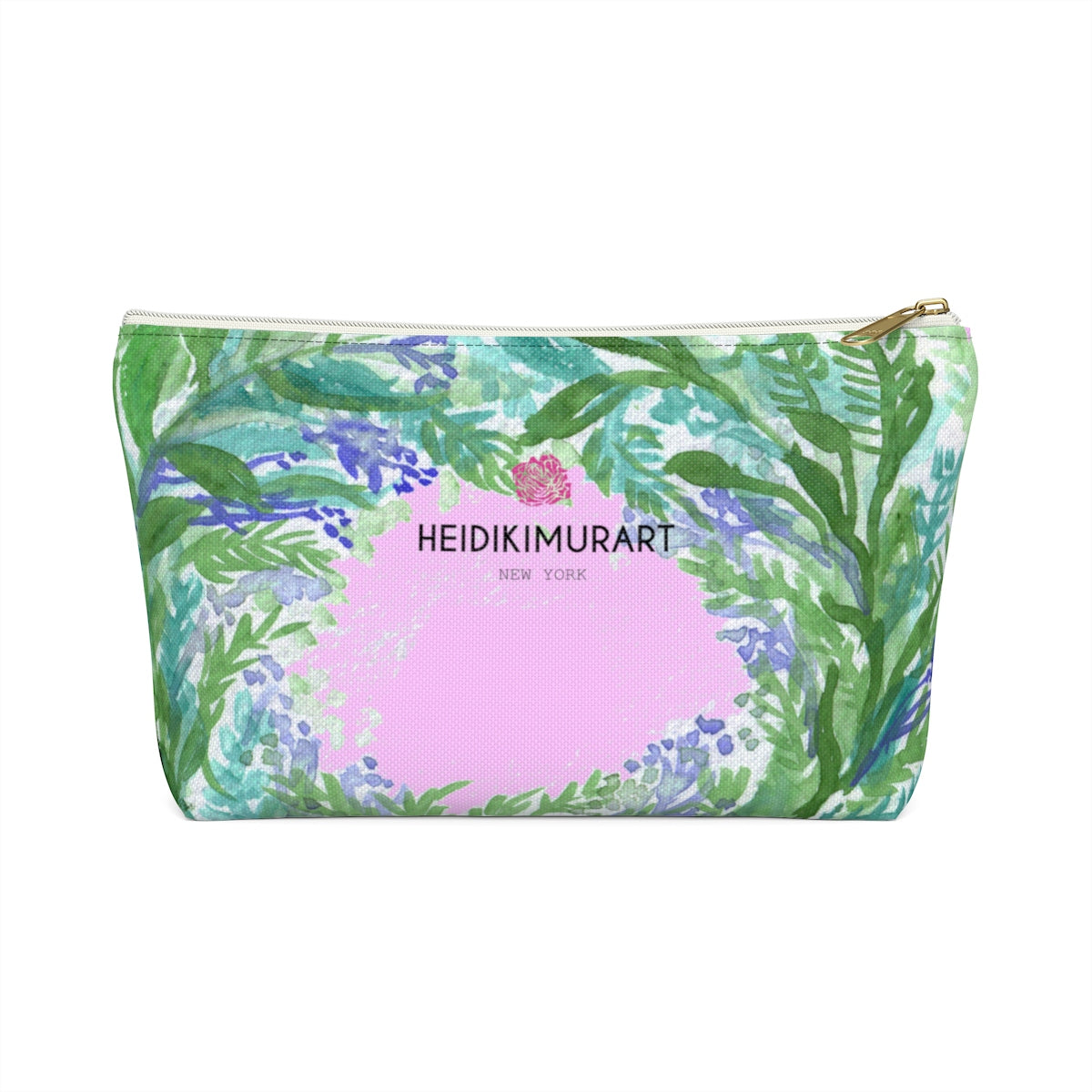 Pink French Lavender Floral Print Accessory Pouch with T-bottom-Accessory Pouch-White-Small-Heidi Kimura Art LLC