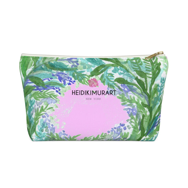 Keiko Pink Spokane French Lavender Floral Print Accessory Pouch with T-bottom - Heidi Kimura Art LLC
