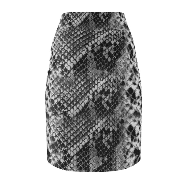Snake Print Women's Pencil Skirt, Grey Snake Skin Printed Designer Skirt - Heidikimurart Limited