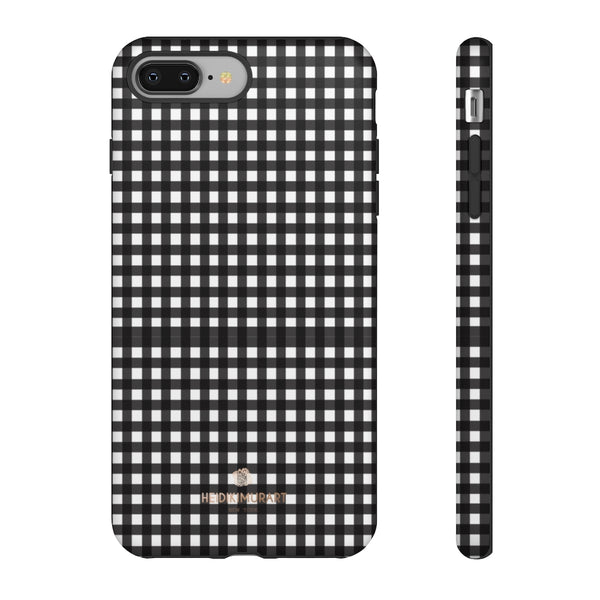 Buffalo Plaid Print Phone Case, Black White Tough Designer Phone Case -Made in USA-Phone Case-Printify-iPhone 8 Plus-Matte-Heidi Kimura Art LLC