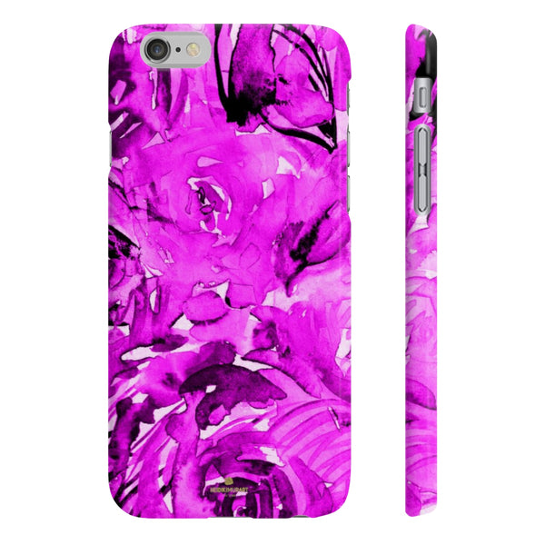 Purple Pink Slim iPhone/ Samsung Galaxy Floral Purple Rose Smart Phone Case, Made in UK-Phone Case-iPhone 6/6S Slim-Matte-Heidi Kimura Art LLC