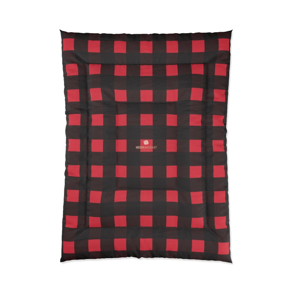Red Buffalo Plaid Print Best Comforter For King/Queen/Full/Twin Bed - Made in USA-Comforter-68x92 (Full Size)-Heidi Kimura Art LLC