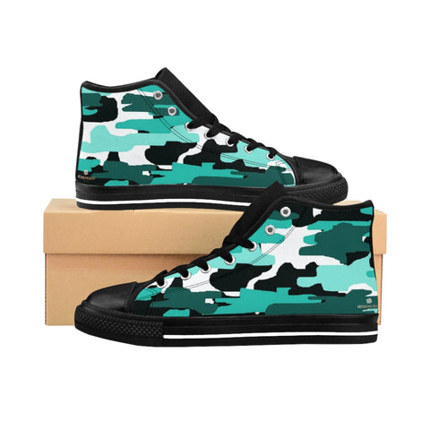 "Blue Army Print Women's Sneakers, Camo Designer High-top Sneakers Tennis Shoes-Shoes-Printify-Black-US 9-Heidi Kimura Art LLCBlue Army Print Women's Sneakers, Aqua Army Military Camouflage Print 5"" Calf Height Women's High-Top Sneakers Running Canvas Shoes (US Size: 6-12)"