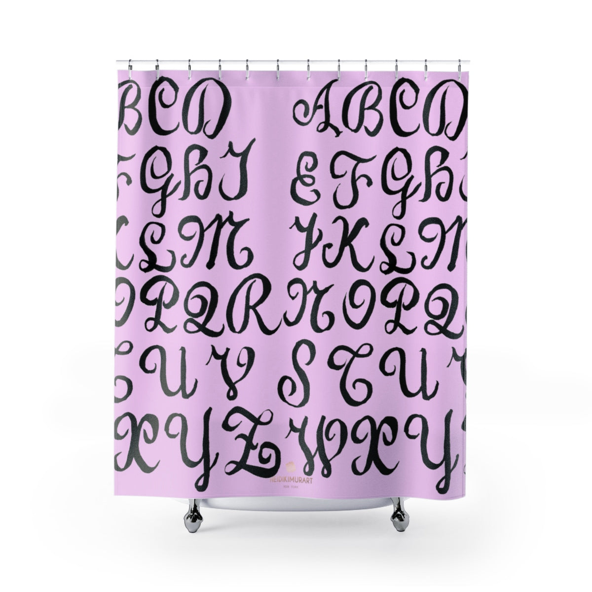 "Pink Alphabet Calligraphy Lettering Modern Bathroom Shower Curtains-Printed in USA-Shower Curtain-71"" x 74""-Heidi Kimura Art LLC"