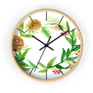 Orange Red Fall Roses Floral Print 10 inch Diameter Unique Wall Clock - Made in USA-Wall Clock-Wooden-Black-Heidi Kimura Art LLC
