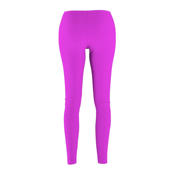 Bright Pink Classic Solid Color Women's Casual Fashion Tight Leggings - Made in USA-Casual Leggings-Heidi Kimura Art LLC