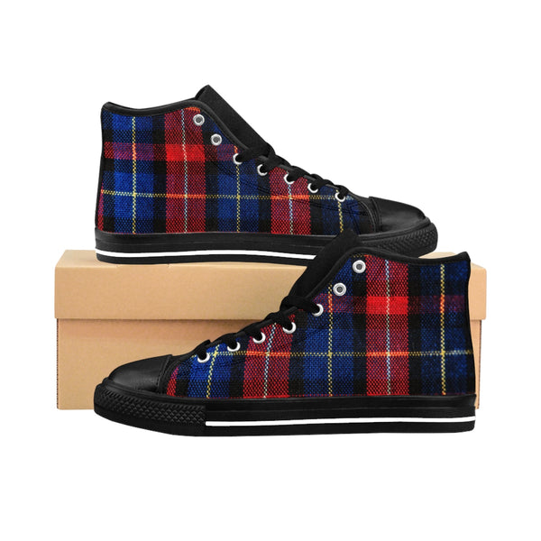 Classic Red Blue Plaid Tartan Print Women's High Top Sneakers Running Shoes-Women's High Top Sneakers-Black-US 9-Heidi Kimura Art LLC Red Plaid Women's Sneakers, Classic Red Blue Plaid Tartan Print Women's High Top Sneakers Running Shoes (US Size: 6-12)