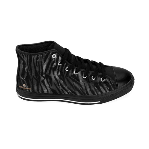 Black Tiger Stripe Men's Sneakers, Black Grey/ Gray Tiger Stripe Men's High Tops, Bengal Tiger Stripe Animal Skin Pattern Fashionable Designer Men's Fashion High Top Sneakers, Tennis Running Shoes (US Size: 6-14)