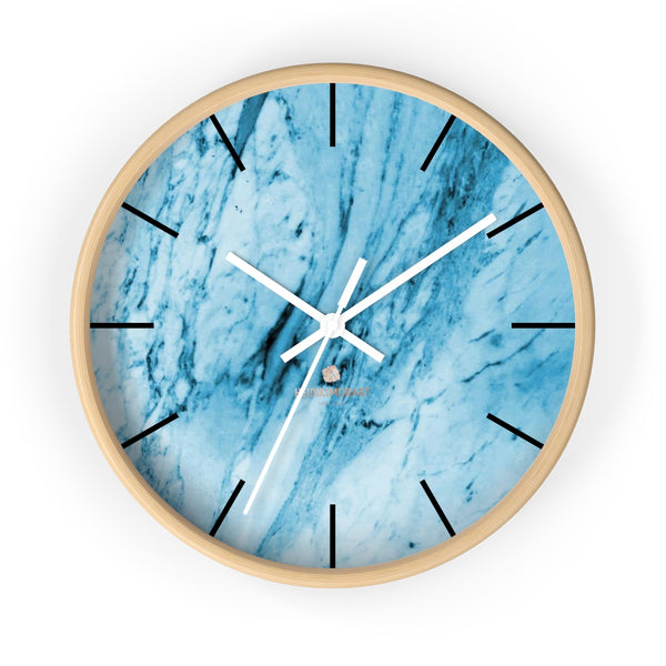 "Blue White Marble Print Art Large Indoor 10"" inch dia. Designer Wall Clock-Made in USA-Wall Clock-10 in-Wooden-White-Heidi Kimura Art LLC"