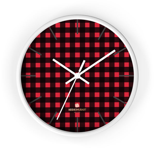 Londoner Buffalo Red Plaid Print Designer 10 in. Dia. Indoor Wall Clock-Made in USA-Wall Clock-10 in-White-White-Heidi Kimura Art LLC