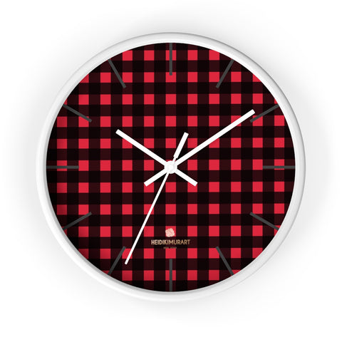 Mana Londoner Buffalo Red Plaid Print Designer 10 in. Dia. Indoor Wall Clock-Made in USA