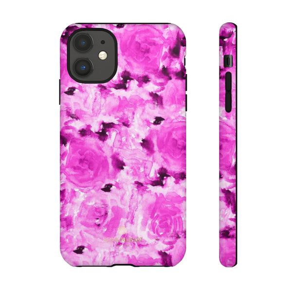 Hot Pink Floral Print Phone Case, Abstract Print Tough Cases, Designer Phone Case-Made in USA-Phone Case-Printify-iPhone 11-Matte-Heidi Kimura Art LLC