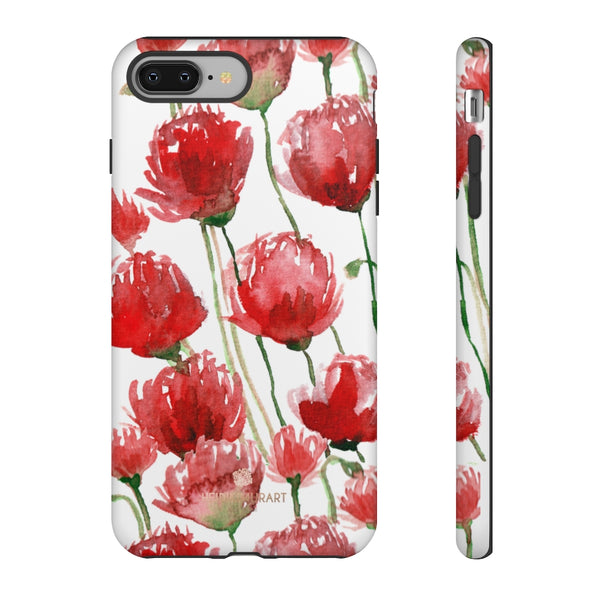 Red Tulips Floral Tough Cases, Roses Flower Print Best Designer Phone Case-Made in USA-Phone Case-Printify-iPhone 8 Plus-Matte-Heidi Kimura Art LLC