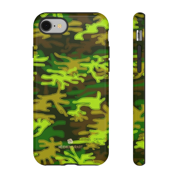 Green Camouflage Phone Case, Army Military Print Tough Designer Phone Case -Made in USA-Phone Case-Printify-iPhone 8-Glossy-Heidi Kimura Art LLC
