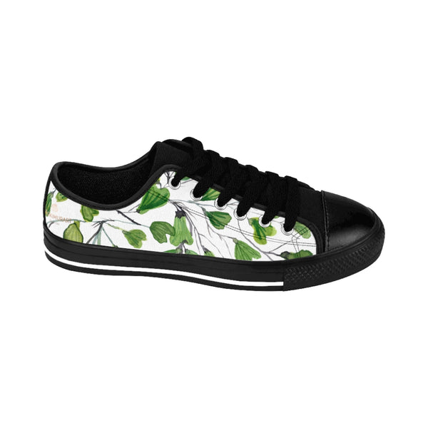 Green Maidenhair Print Men's Sneakers, Best Tropical Leaf Print Men's Low Top Tennis Shoes-Shoes-Printify-Heidi Kimura Art LLC