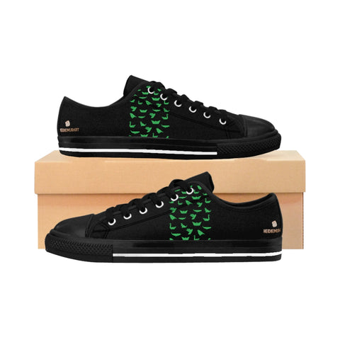 Green Japanese Crane Men's Sneakers, Black Designer Japanese Style Men's Low Tops, Premium Men's Nylon Canvas Tennis Fashion Sneakers Shoes (US Size: 7-14)