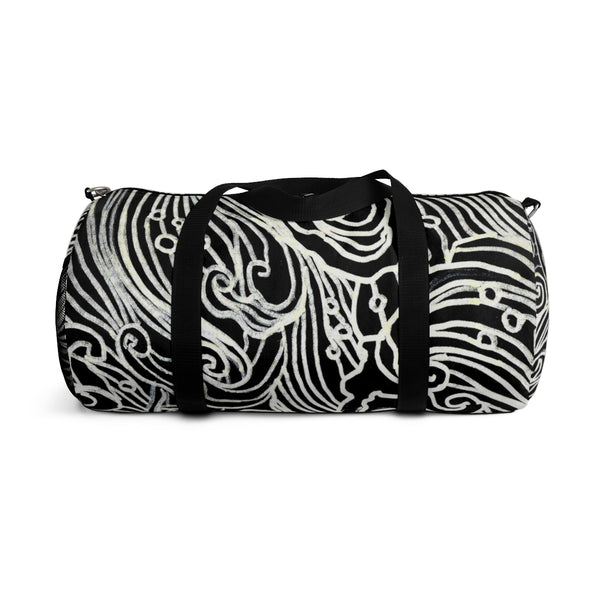 Japanese Waves All Day Small Or Large Size Gym Designer Duffel Bag, Made in USA-Duffel Bag-Heidi Kimura Art LLC
