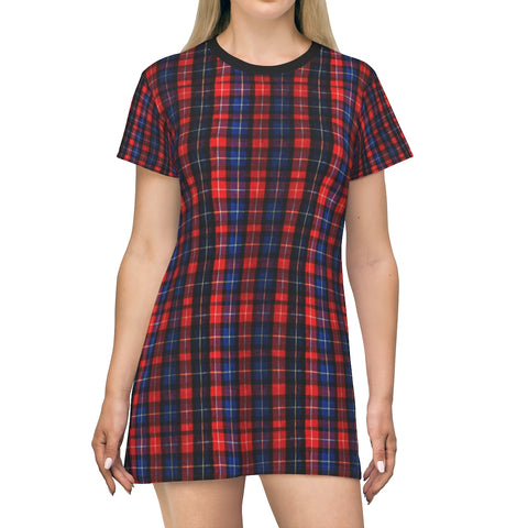 Red Blue Plaid Tartan Print Designer Crew Neck Long T-shirt Dress-Made in USA-T-Shirt Dress-L-Heidi Kimura Art LLC