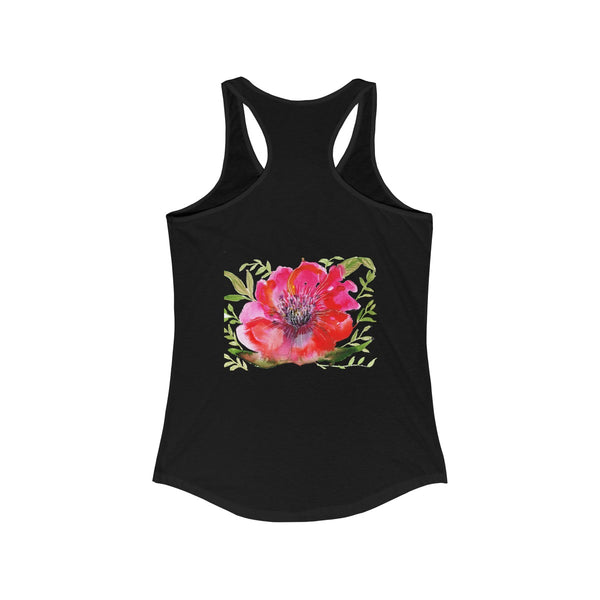 Red Designer Best Floral Women's Ideal Racerback Tank - Made in the USA-Tank Top-Heidi Kimura Art LLC Red Hibiscus Flower Tank Top, Red Designer Best Floral Women's Ideal Racerback Tank - Made in the U.S.A. (US Size: XS-2XL)