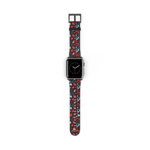 Black Red Hearts Shaped V Day 38mm/42mm Watch Band For Apple Watch- Made in USA-Watch Band-Heidi Kimura Art LLC