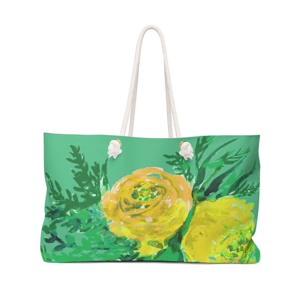 "Turquoise Blue Yellow Rose Floral Print Oversized 24""x13"" Large Weekender Bag-Weekender Bag-24x13-Heidi Kimura Art LLC Turquoise Blue Floral Weekender Bag, Turquoise Blue Yellow Rose Floral Print Oversized Designer 24""x13"" Large Weekender Bag- Made in USA"