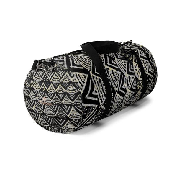 Black Geometric Duffel Bag, African Tribal Pattern Small/ Large Size Duffel Bag-Made in USA-Duffel Bag-Heidi Kimura Art LLC