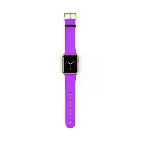 Purple Solid Color Print 38mm/42mm Watch Band For Apple Watches- Made in USA-Watch Band-42 mm-Gold Matte-Heidi Kimura Art LLC