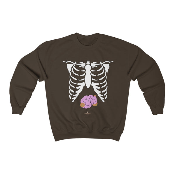 White Skeleton Torso Halloween Unisex Heavy Blend Crewneck Sweatshirt-Made in USA-Long-sleeve-Dark Chocolate-S-Heidi Kimura Art LLC