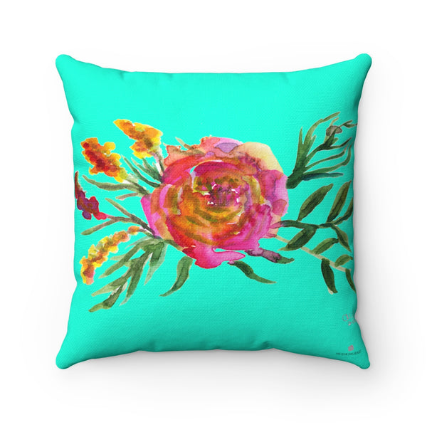 Kudo Spring Pink Rose Girlie Floral Print Turquoise Blue Spun Polyester Square Pillow Cover Set-14x14,16x16,18x18,20x20 inches, Made in USA Kudo Spring Pink Rose Girlie Floral Wreath Spun Polyester Square Pillow Cover Set - 14x14, 16x16, 18x18, 20x20 inches, Made in USA