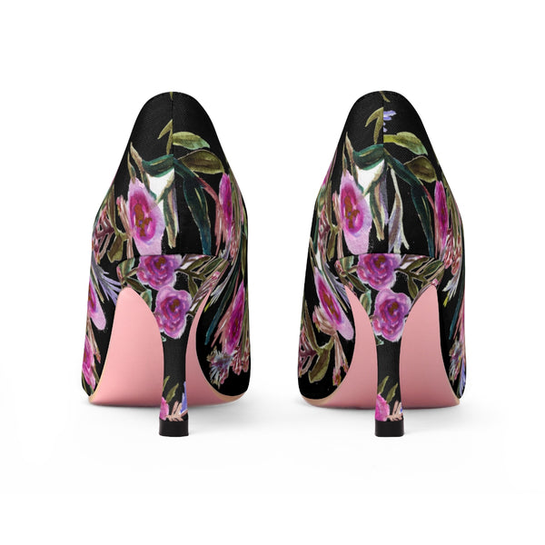 "Black Floral Garden Purple Pink Rose Designer Women's 3"" High Heels Canvas Shoes-3 inch Heels-Heidi Kimura Art LLC"
